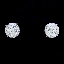 5.01 total carat weight Round Brilliant Cut diamond earrings