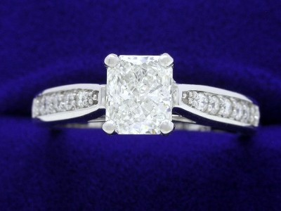 Radiant Cut Diamond Ring: 0.82 carat with 1.20 ratio in 0.20 tcw Leo Ingwer mounting