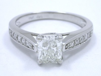 Radiant cut diamond with 1.20 ratio in Leo Ingwer designer mounting