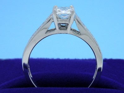 Radiant cut diamond engagement ring with Leo Ingwer designer mounting