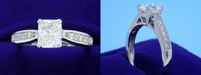 Radiant Cut Diamond Ring: 0.82 carat with 1.20 ratio in 0.20 tcw Prong-Set Pave Leo Ingwer Designer mounting
