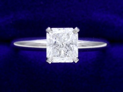 Radiant Cut Diamond Ring: 0.83 carat E SI1 with 1.10 ratio in Solitaire style mounting