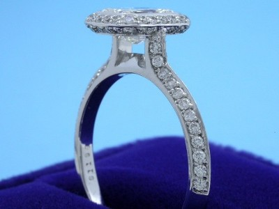 Radiant Cut Diamond Ring: 1.00 carat with 1.32 ratio in 0.53 tcw Bez Ambar pave mounting