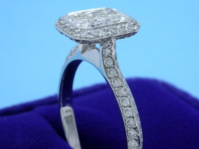 Bezel set radiant cut diamond in Bez Ambar designer engagement ring