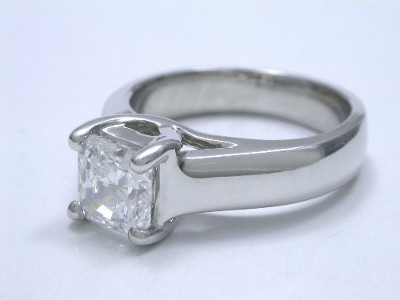 Diamond ring with 1.02 carat cut-cornered square modified brilliant (radiant) cut diamond graded D color, VS1 clarity