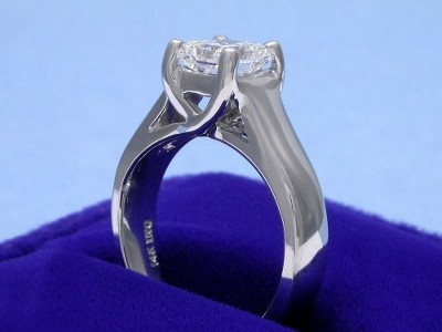 Radiant Cut Diamond Ring: 1.02 carat with 1.01 ratio in Trellis style mounting