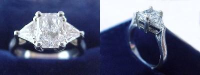 Radiant Cut Diamond Ring: 1.03 carat with 1.40 ratio in 0.75 tcw Trillion Cut Three Stone mounting