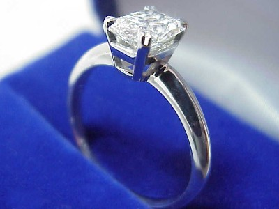 Radiant Cut Diamond Ring: 1.04 carat with 1.36 ratio in Split Prong Basket style mounting