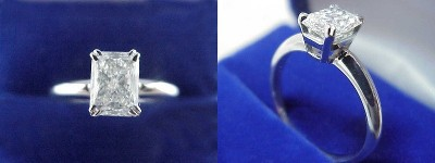 Radiant Cut Diamond Ring: 1.04 carat with 1.36 ratio in Split-Prong Basket style mounting