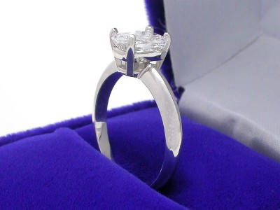 Radiant Cut Diamond Ring: 1.09 carat with 1.29 ratio in Basket style mounting