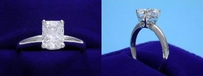 Radiant Cut Diamond Ring: 1.10 carat with 1.31 ratio in Basket style mounting