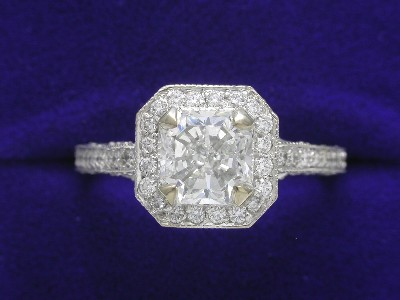 Radiant Cut Diamond Ring: 1.11 carat in Richard Landi Pave mounting