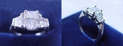 Radiant Cut Diamond Ring: 1.13 carat with 1.33 ratio in 0.60 tcw Brilliant-Cut Trapezoid Three Stone mounting