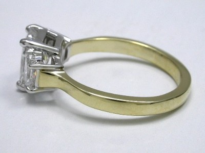 Radiant and Brilliant Cut Trapezoid Diamond Engagement Ring