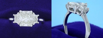 Radiant Cut Diamond Ring: 1.20 carat with 1.30 ratio in 0.59 tcw Brilliant-Cut Trapezoid Three Stone mounting