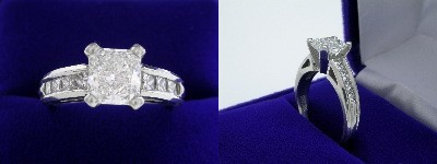 Radiant Cut Diamond Ring: 1.33 carat with 1.07 ratio in 0.50 tcw Princess Channel Set mounting