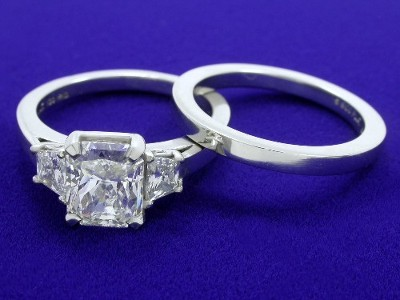 Radiant Cut Diamond Ring with Matching Metal Wedding Band