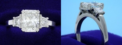 Radiant Cut Diamond Ring: 1.51 carat with 1.23 ratio and 0.33 tcw Trapezoid Side Diamonds in Three-Stone Mounting