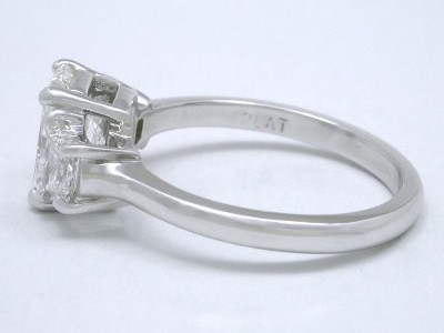 Radiant and Trapezoid Diamond Engagement Ring