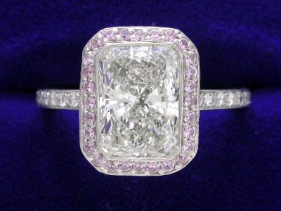 Radiant Cut Diamond Ring: 1.82 carat with Pink Sapphire Pave mounting
