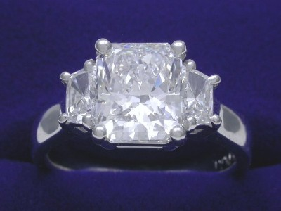 Radiant Cut Diamond Ring: 1.88 carat with 1.21 ratio and 0.40 tcw Trapezoid Diamonds