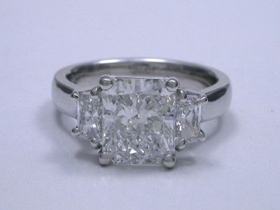 Diamond ring with 1.88 carat cut cornered rectangular modified brilliant (radiant) cut diamond with 1.21 ratio
