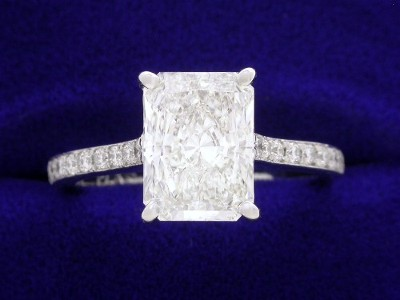 Radiant Cut Diamond Ring: 1.92 carat with 1.35 ratio in 0.25 tcw Pave Mounting With Modified Basket