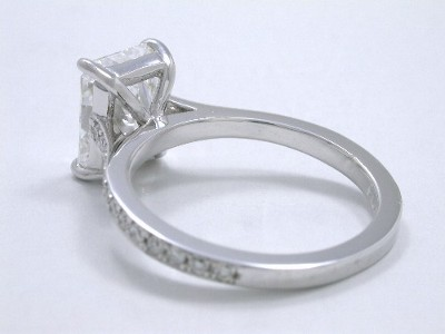 Rectangular radiant cut diamond engagement ring with 1.35 length-to-width ratio