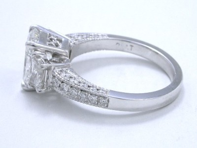 Radiant Cut Diamond Ring: 2.02 carat with 1.30 ratio in 0.63 tcw Brilliant Trapezoid and 0.37 tcw Pave Mounting