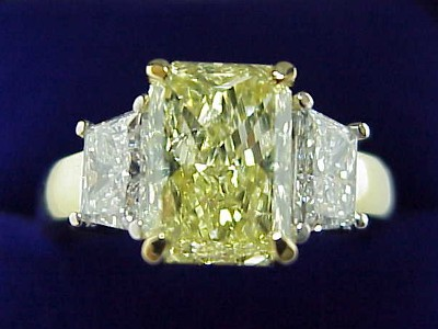Radiant Cut Diamond Ring: 2.07 carat with 1.42 ratio and 1.00 tcw Trapezoids