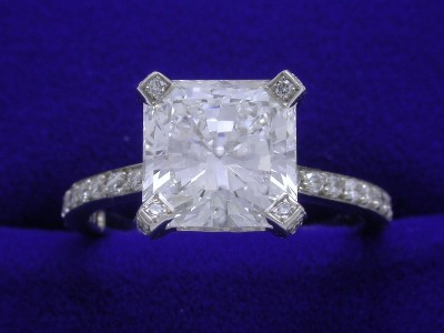 Radiant Cut Diamond Ring: 2.07 carat in Pave-Set mounting