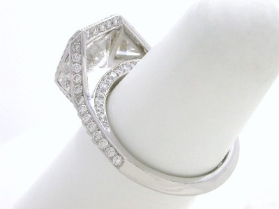 Radiant Cut Diamond Ring: 2.51 carat with 1.00 ratio in 0.60 tcw Trillion and 0.78 tcw Pave Mounting