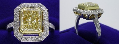 Radiant Cut Diamond Ring: 2.56 carat with 1.22 ratio and Fancy Light Yellow color in 1.00 tcw Pave Set mounting