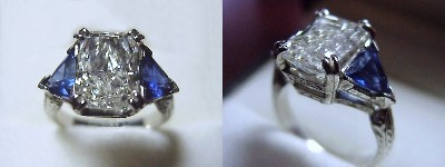 Radiant Cut Diamond Ring: 3.00 carat with 1.43 ratio in 1.42 tcw Blue Sapphire Trillion Three Stone mounting