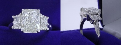 Radiant Cut Diamond Ring: 3.02 carat with 1.31 ratio in 0.77 tcw Brilliant-Cut Trapezoid Three Stone mounting