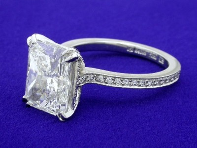 Radiant cut diamond ring with Bez Ambar designer custom mounting