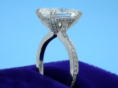 Radiant Cut Diamond Ring: 3.59 carat with 1.23 ratio in 0.36 tcw Bez Ambar Pave Mounting