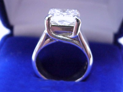 Radiant Cut Diamond Ring: 3.67 carat with 1.08 ratio in Trellis style mounting