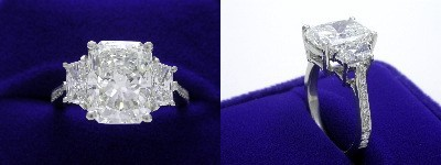 Radiant Cut Diamond Ring: 4.00 carat with 1.30 ratio in 0.83 tcw Brilliant-Cut Trapezoid Three Stone mounting