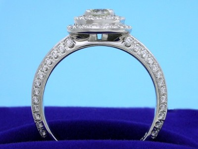Custom Platinum Mounting with Double Row Pave Halo and French-Cut Pave Knife-Edge Shank