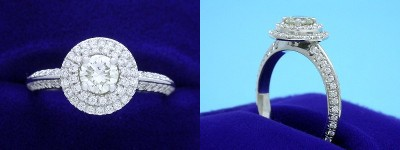 Round Diamond Ring: 0.47 carat with 0.47 tcw Double Row Pave Halo and Knife Edge Shank