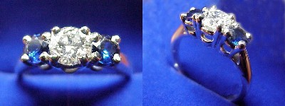 Round Diamond Ring: 0.50 carat with 0.60 tcw Round Blue Sapphires Side Stones