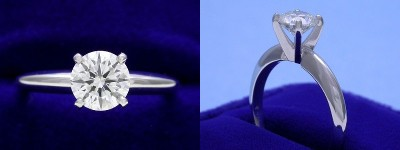 Round Diamond Ring: 0.77 carat I VS1 in 4-prong Solitaire style mounting