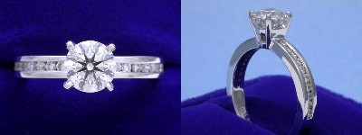Round Diamond Ring: 0.83 carat in 0.30 tcw Channel-Set mounting