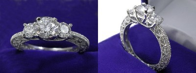 Round Diamond Ring: 0.84 carat with 0.52 tcw Rounds in Antique mounting