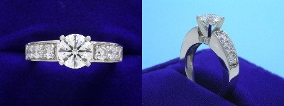Round Diamond Ring: 0.91 carat with 0.54 tcw prong set Round Diamonds