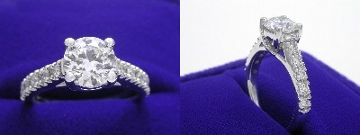Round Diamond Ring: 0.96 carat with 0.25 tcw Trellis style mounting