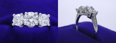 Round Diamond Ring: 1.00 carat 3-Stone with 1.20 tcw Round Side Stones