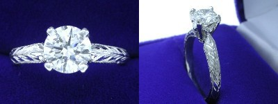 Round Diamond Ring: 1.01 carat in Hand Engraved mounting