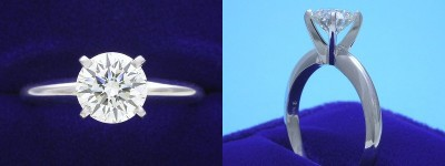 Round Diamond Ring: 1.03 carat J SI1 in Four-Prong Solitaire style mounting